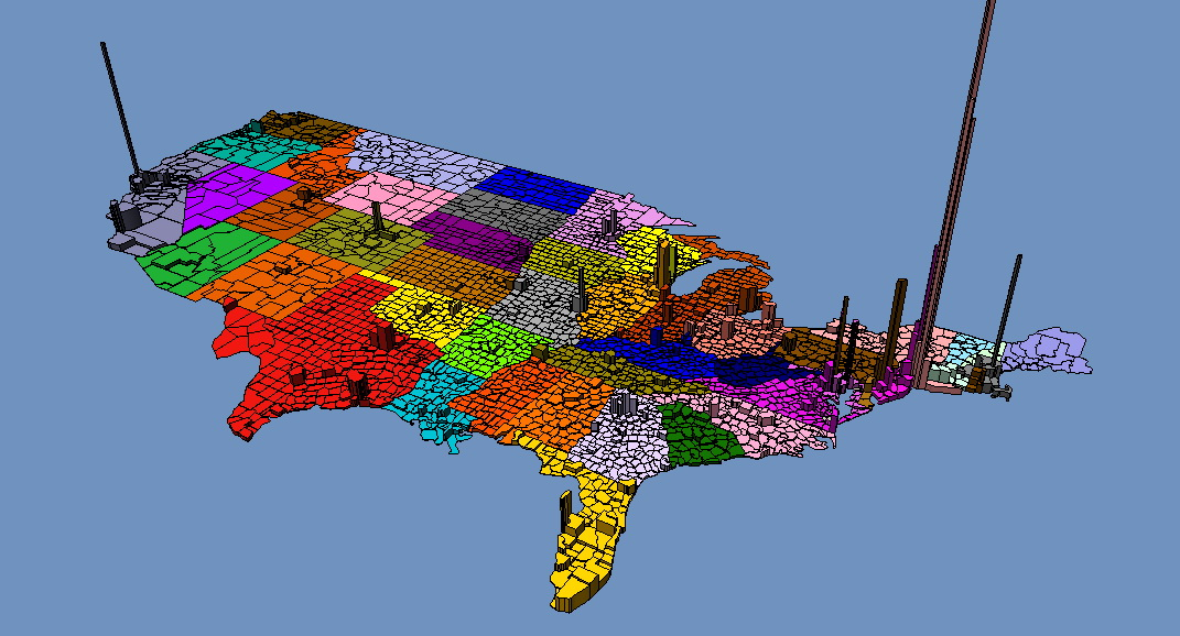 3D map of US population density
