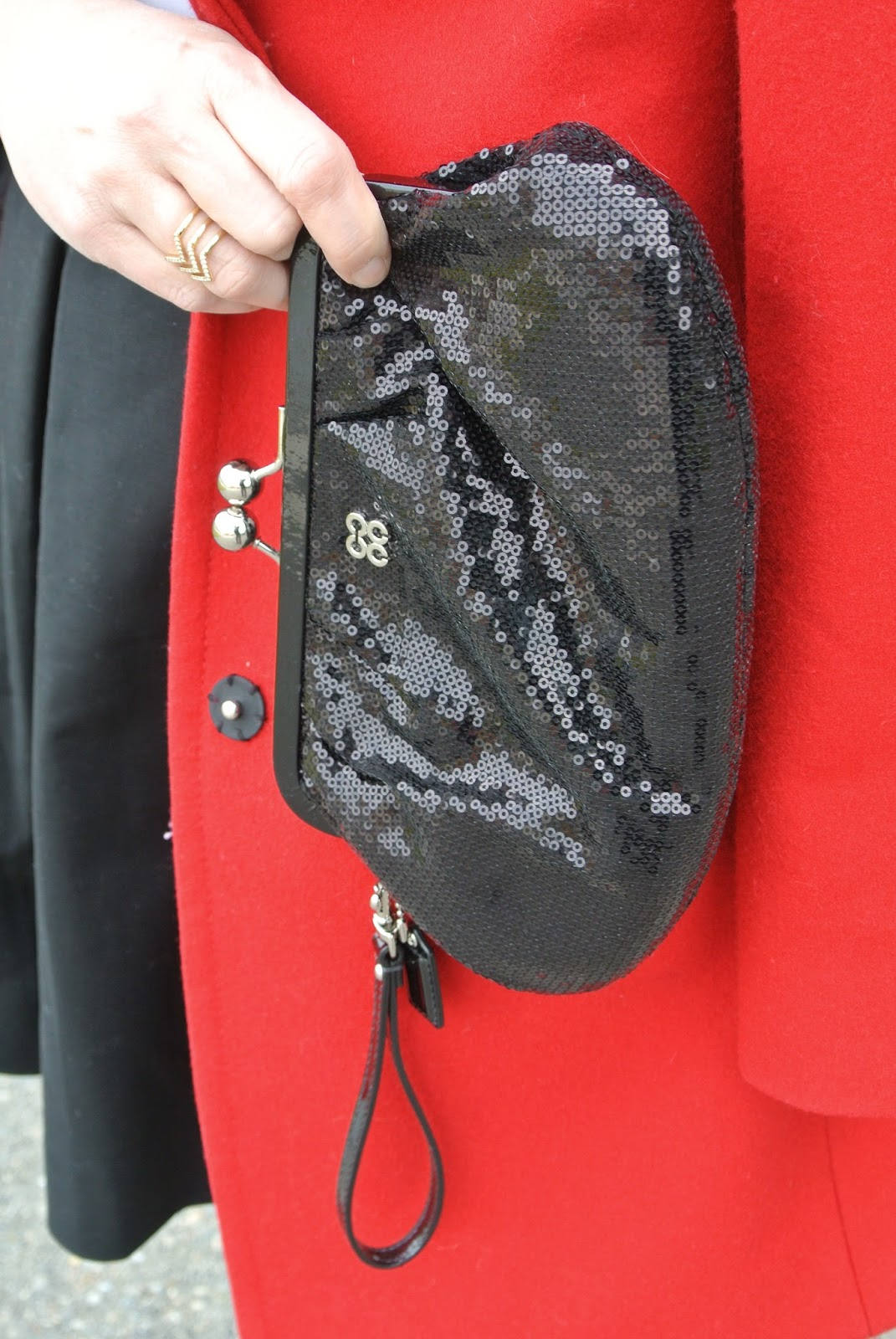 red coat coach sequin bag