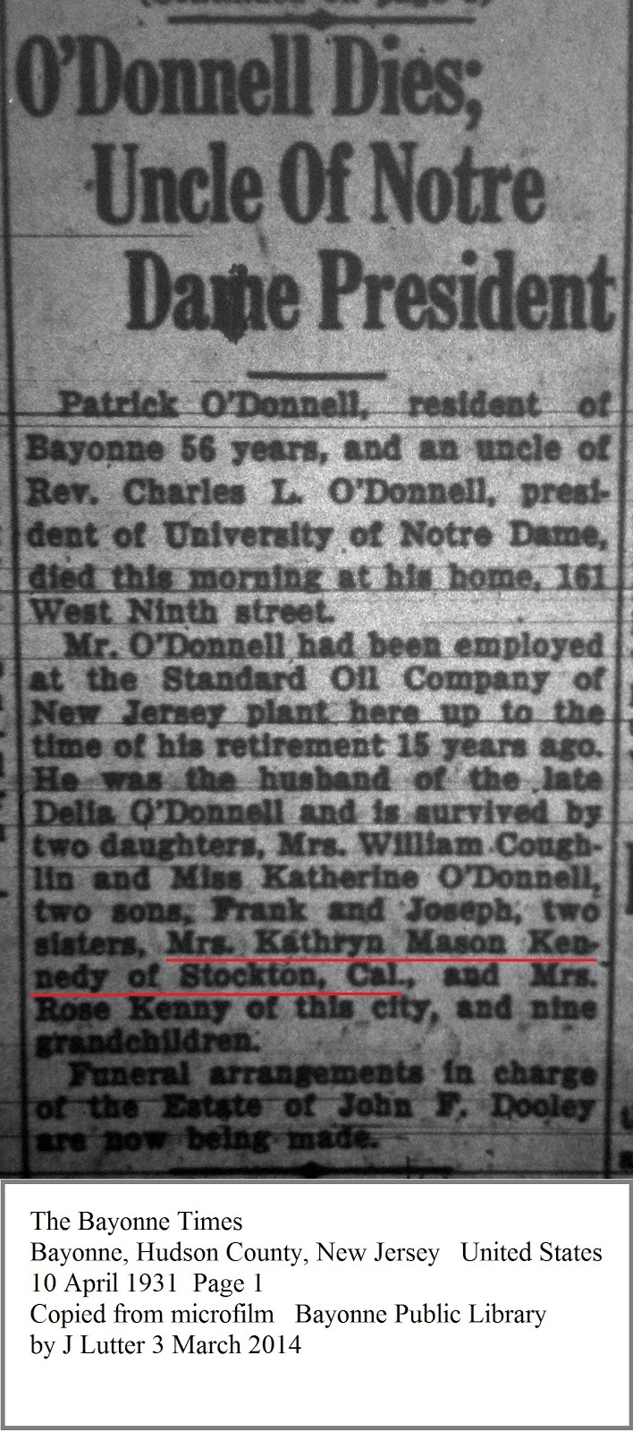 Family history research by jody july 2015 this obituary was printed in 1931 so i looked in the 1930 federal census for kathryn mason kennedy in stockton california aiddatafo Gallery