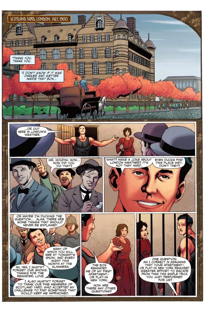 Sherlock Holmes vs. Harry Houdini - interior art by Carlos Furuzono