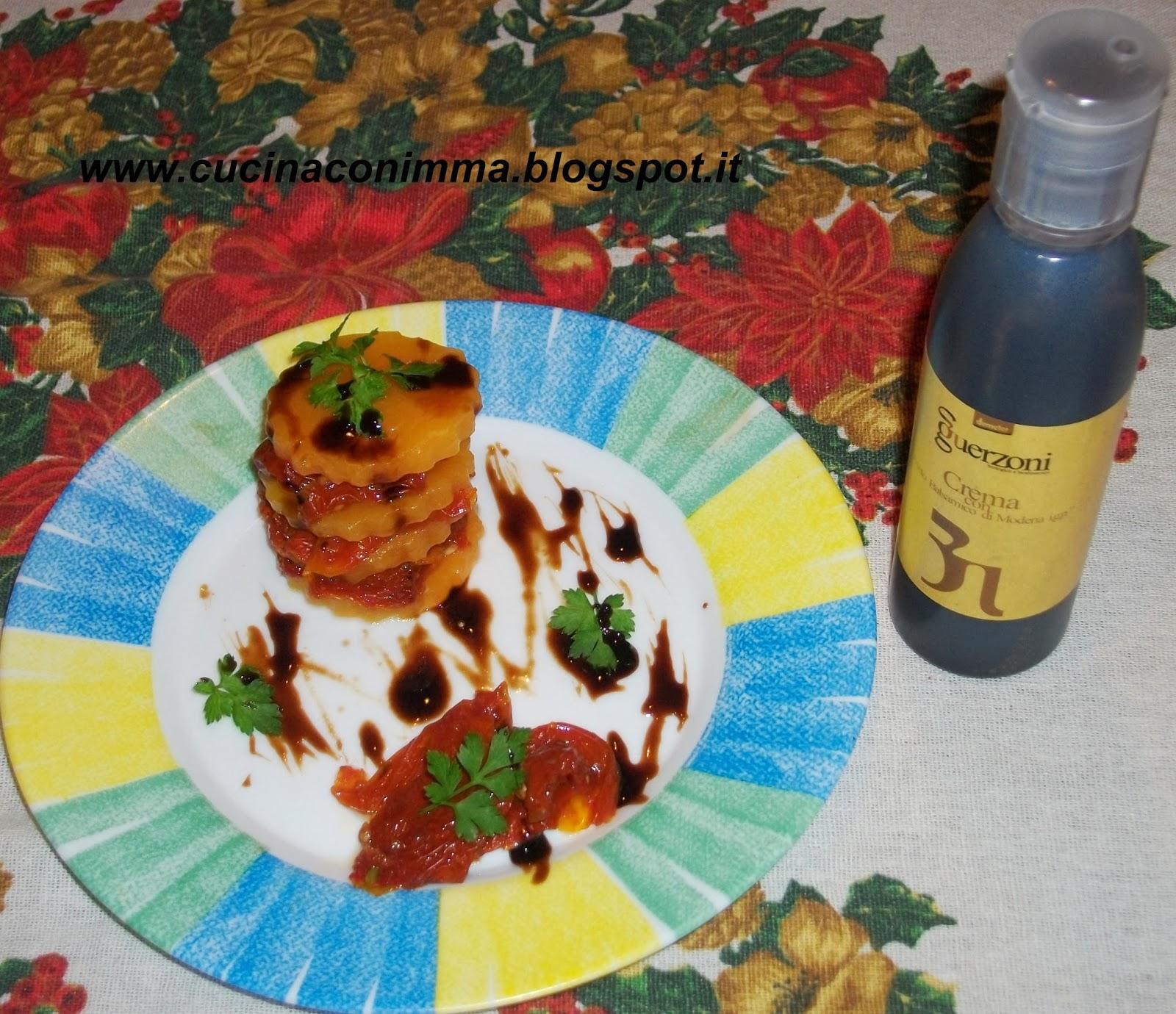 millefoglie zucca e pomodori secchi, con crema di aceto balsamico guerzoni