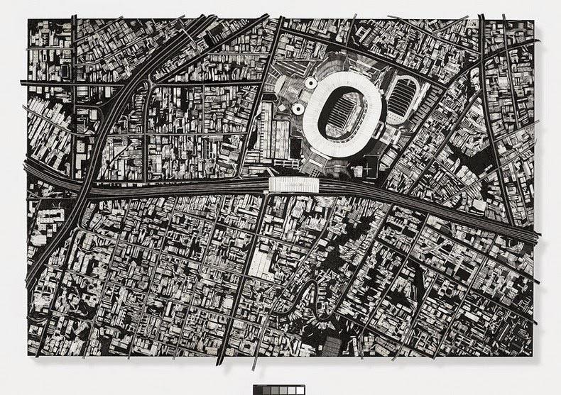 Damien Hirst construye paisajes urbanos a partir de herramientas quirúrgicas
