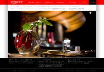 The homepage of Concentrics Restaurants