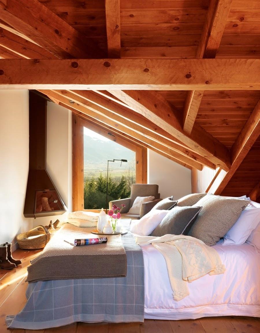 wystrój wnętrz, wnętrza, urządzanie mieszkania, dom, home decor, dekoracje, aranżacje, dom drewniany, domek w górach, chatka, drewniane skosy, drewniane belki, sypialnia