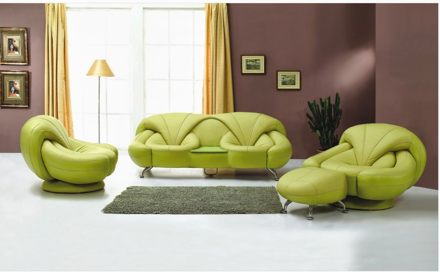 Modern green living room furniture set