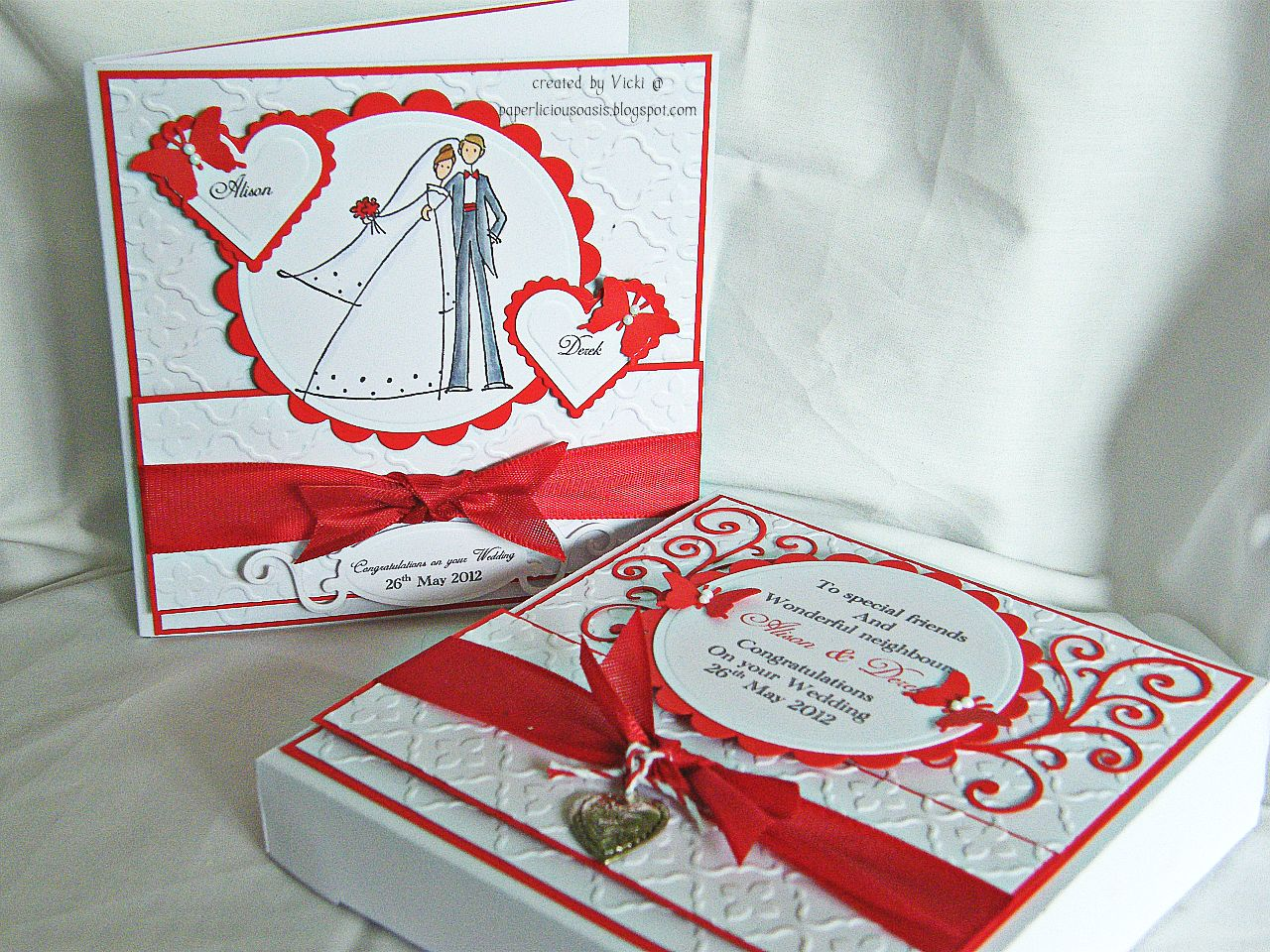 Paperlicious Oasis Red And White Wedding Card And Box