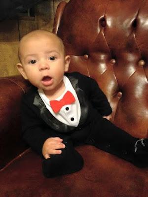 Daniel in his suit onesie