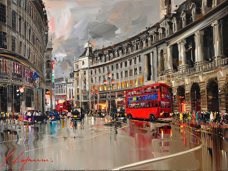 23-Piccadilly-traffic-Kal-Gajoum-Paintings-of-Dream-Like Cities-of-the-World-www-designstack-co