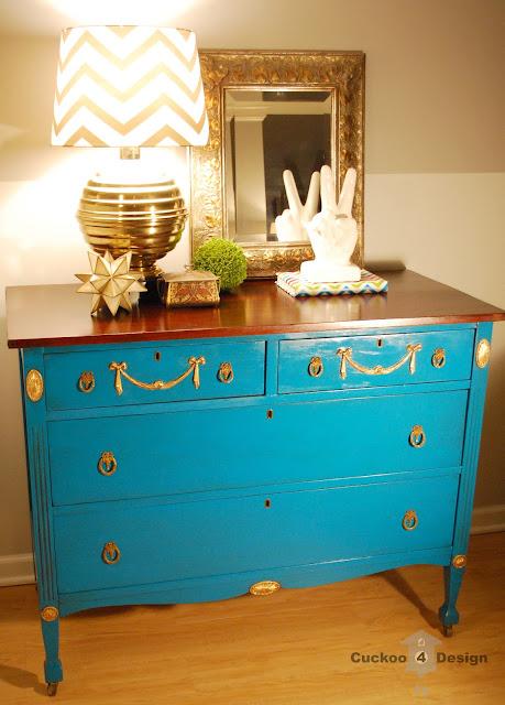 dresser with gold leaf, lagoon spray paint