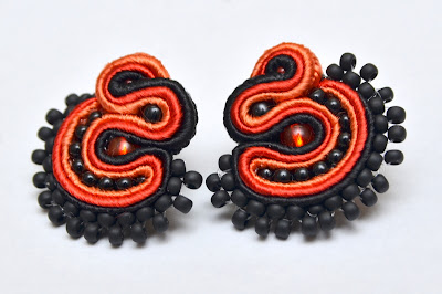 Chinese Fireball kolczyki sutasz soutache earrings 35