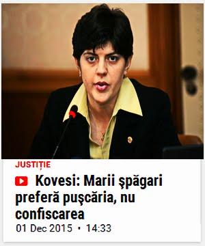 Kovesi: 'Marii şpăgari preferă puşcăria, nu confiscarea!' // ~Dar... La domiciliu, nu-i asa?~