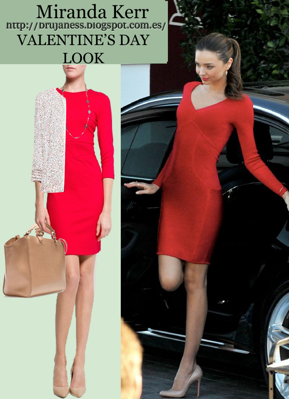 Miranda Kerr bodycon dress, vestido ajustado rojo, san valentín what to wear, as seen on, visto en, nude pumps, zapatos salón maquillaje, ponytail, mango dress, zara bag, shopper, zara, necklace, cardigan sequined, pink, chaqueta lentejuelas, look, combine, combinar