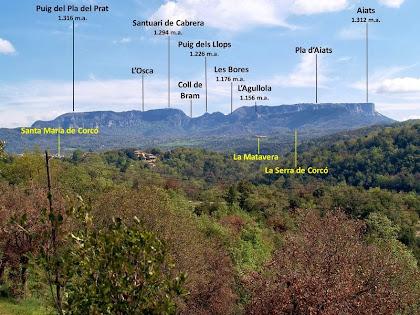 La figura rectilínia dels Cingles de Cabrera i Aiats des del camí a La Bertrana
