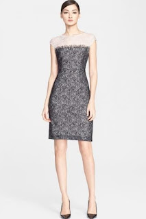 ESCADA 'Delace' Cap Sleeve Tweed Lace Dress