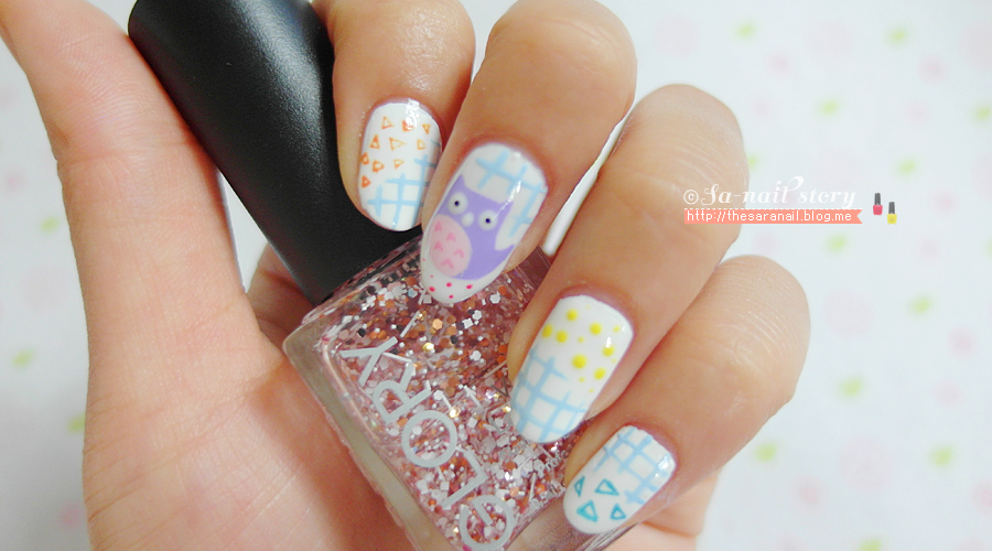 Sara Nail Cute Owl Nail Art Light Color Owl Nailart Owl Nail Art