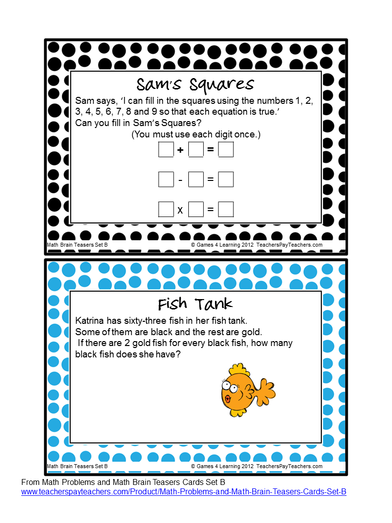Brain teasers worksheets 6