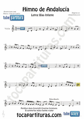 Tubepartitura Himno de Andalucía partitura para Violín Música de José del Castillo y con la letra de Blas Infante