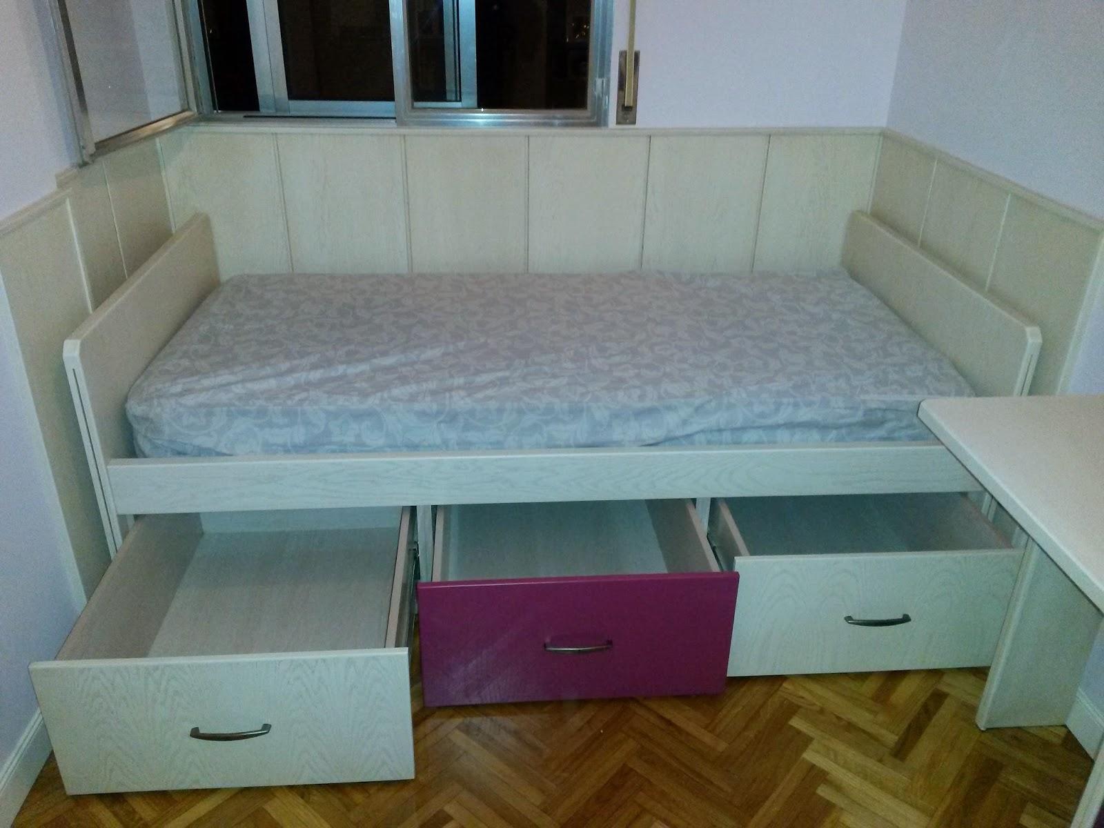 Muebles a medida friso cama con cajones debajo en roble - Camas cajones debajo ...