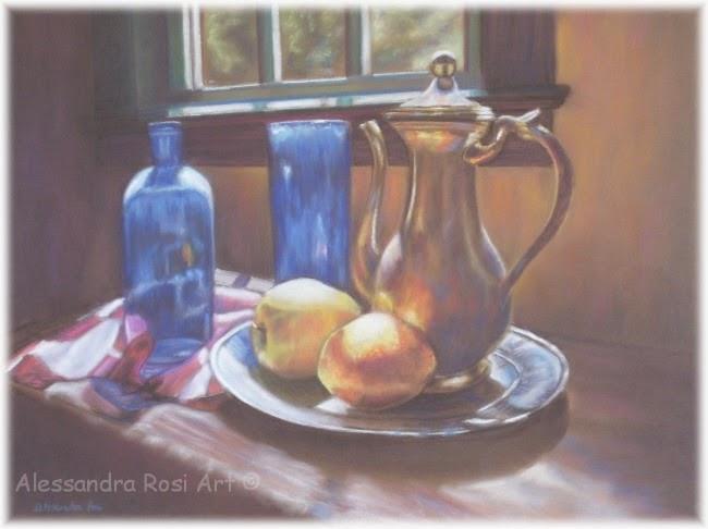 Fine art painting, still life, pastel painting