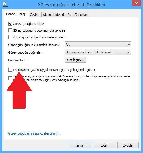 Windows mağazası uygulamalarını görev çubuğunda göster