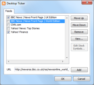 Desktop Ticker 1.7 - Insert RSS or Atom Feed