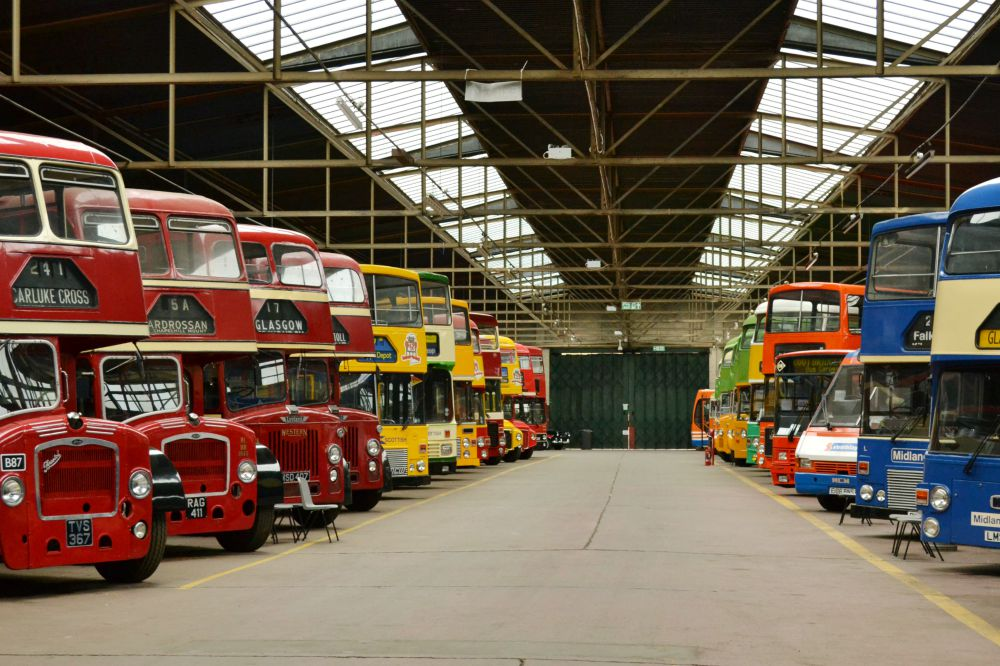 row of vintage buses glasgow bridgeton bus garage vintage vehicle trust doors open day