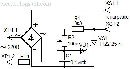 схема на тиристорный регулятор скорости