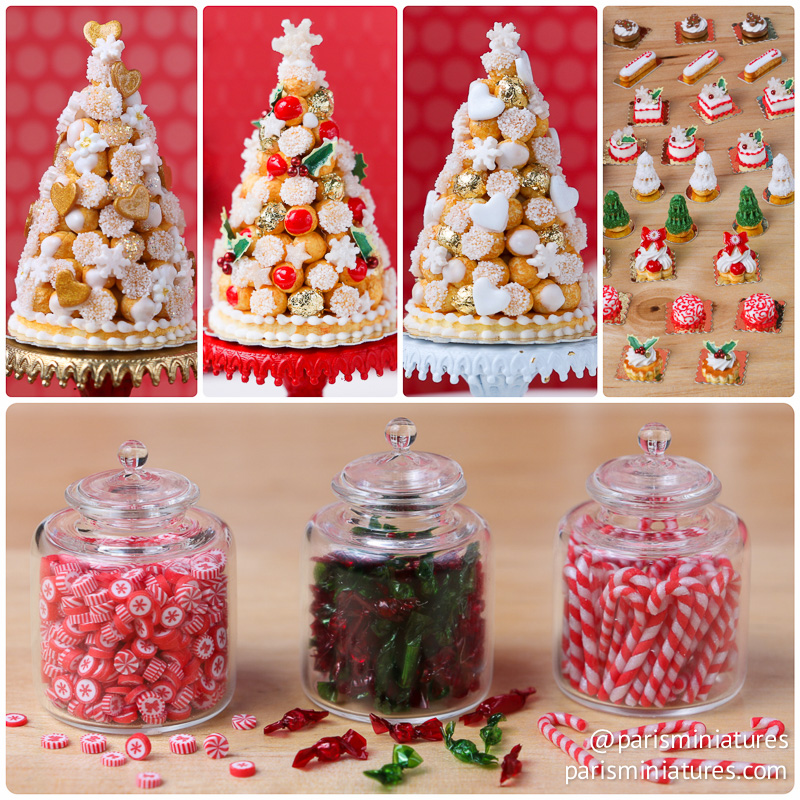 Three croquembouche, Christmas pastries, Large Christmas candy jars in miniature