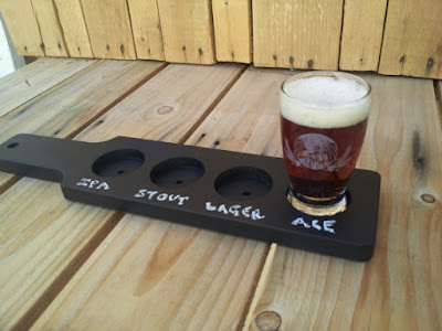 Chalkboard beer flight paddle home brew taste taster IPA stout lager ale pub  wood wooden