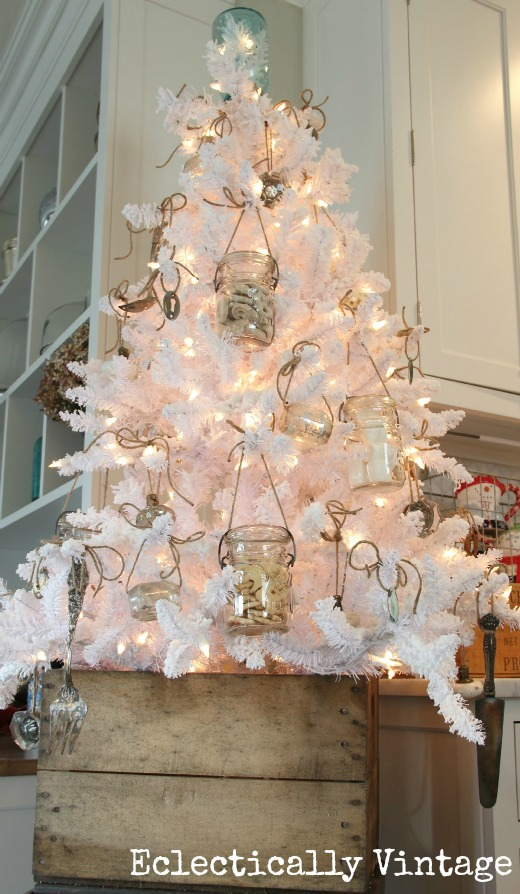 Mason jar white Christmas tree, by Eclectically Vintage, featured on I Love That Junk