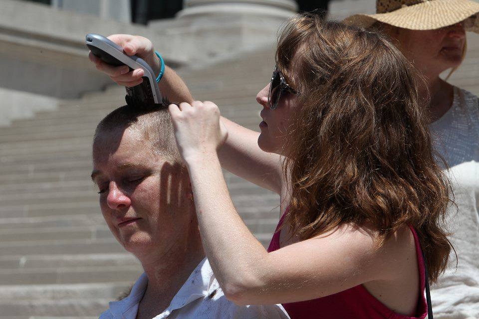 Women in West Virginia Shave Their Heads in Protest