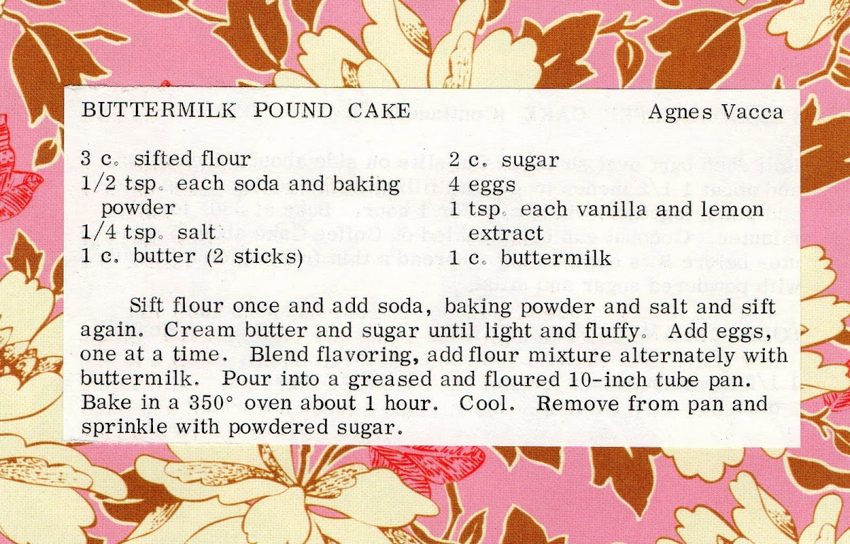 Buttermilk Pound Cake (quick recipe)