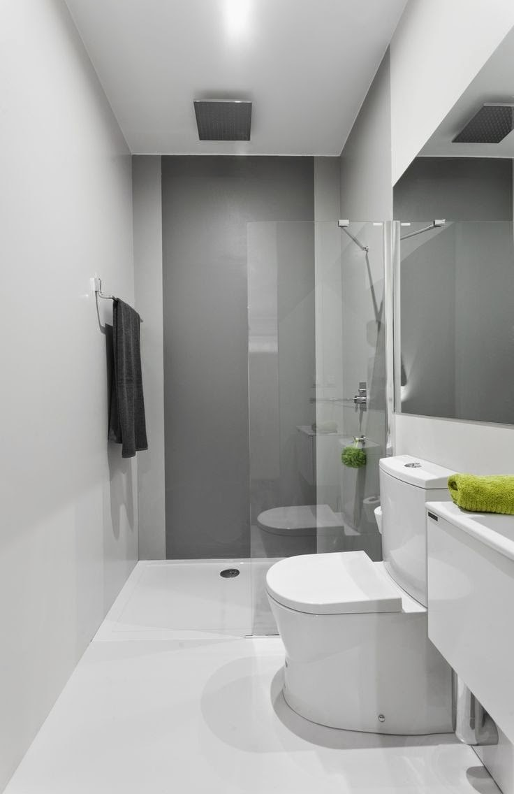 Baño Gris Decoración:Small Narrow Bathroom Design Ideas