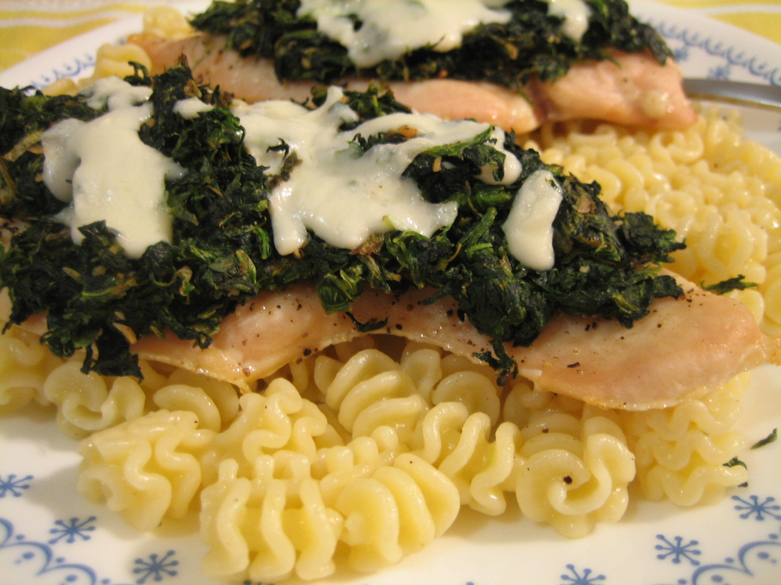 Chicken with Spinach and Melted Mozzarella