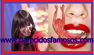 Beatriz Montañez con lengua