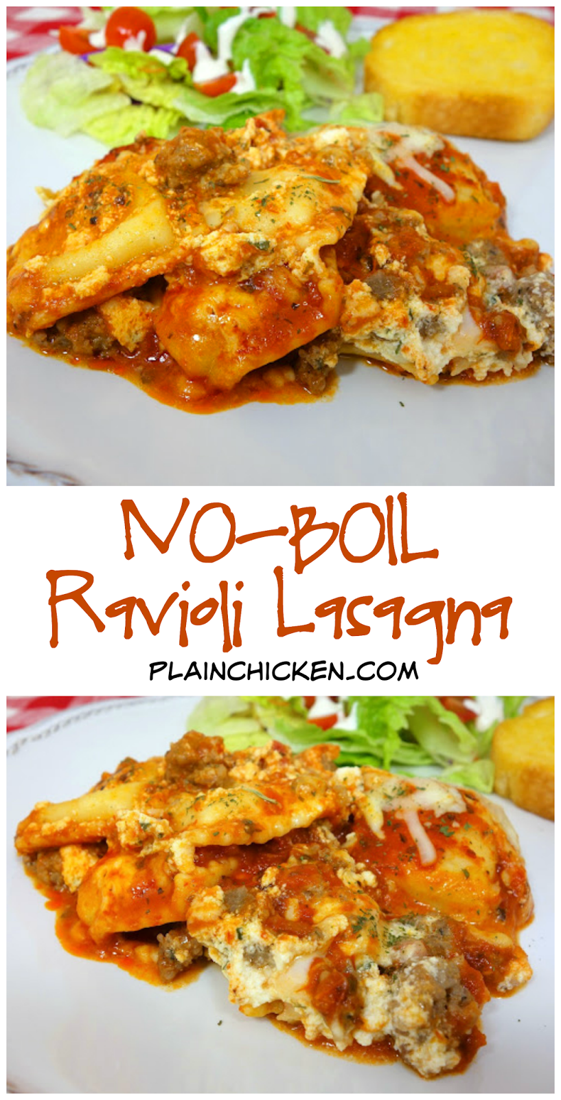 No-Boil Ravioli Lasagna recipe - frozen ravioli, spaghetti sauce, sausage/hamburger, ricotta, mozzarella - layer everything in a pan and bake. No need to precook the ravioli. Super quick casserole! Ready in 30 minutes. Make a great freezer meal! Assemble and freeze for later. Serve with a salad and crusty garlic bread for a quick weeknight meal.