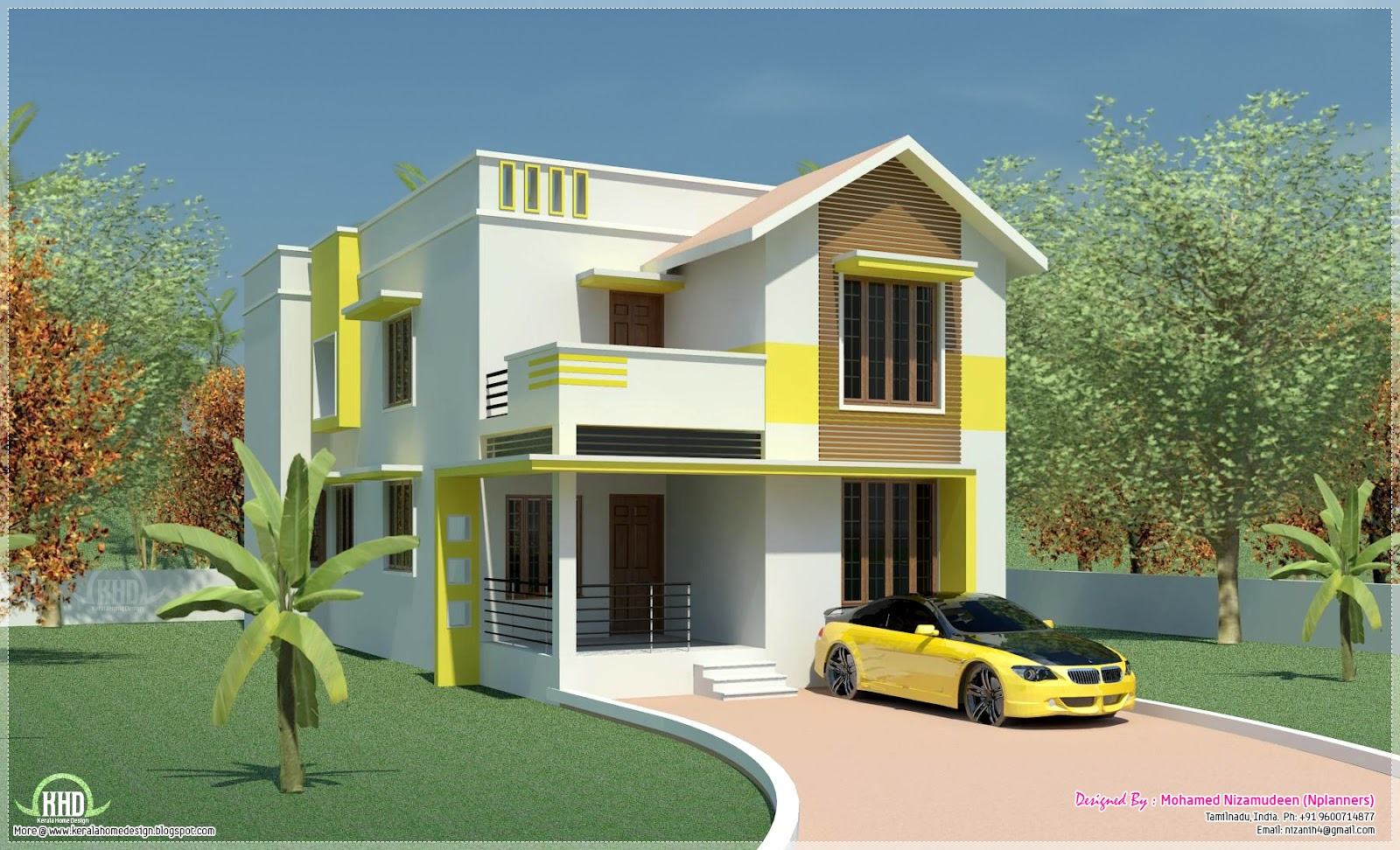 Minimalist villa exterior in 1900 kerala home for Minimalist house kerala