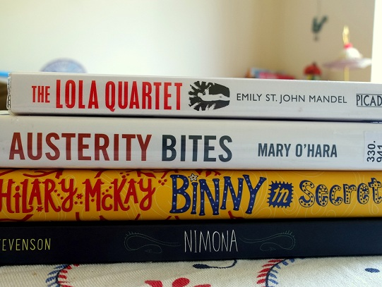 The Lola Quartet by Emily St John Mandel, Austerity Bites by Mary O'Hara, Binny in Secret by Hilary McKay, Nimona by Noelle Stevenson