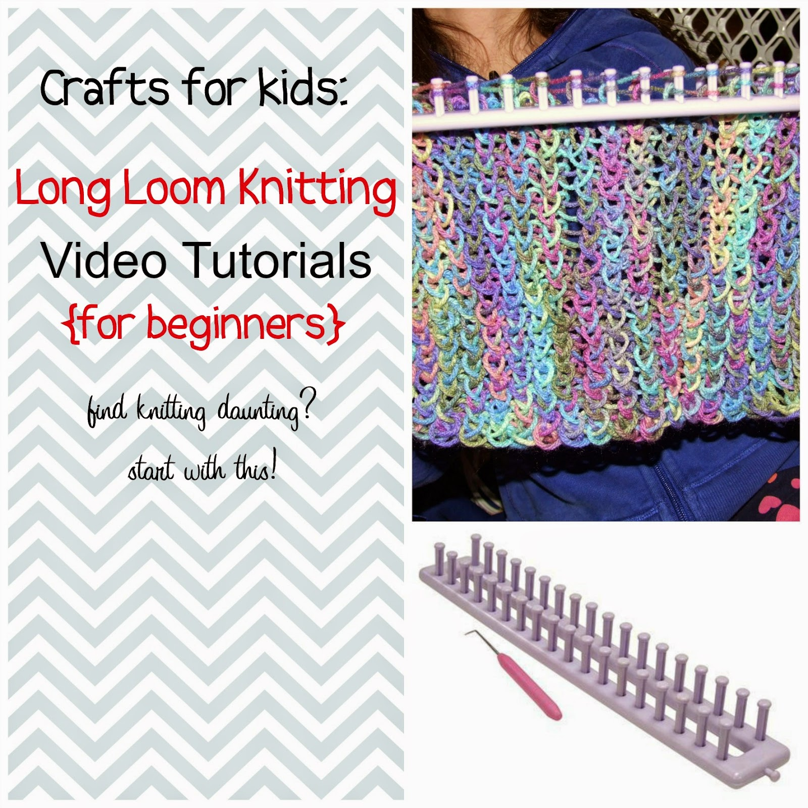 Loom Knitting For Kids : Paper tape long loom knitting video tutorials for