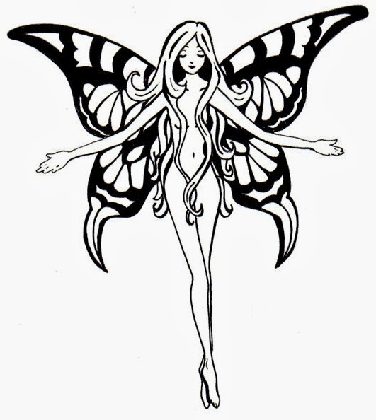 Nude flying fairy tattoo stencil