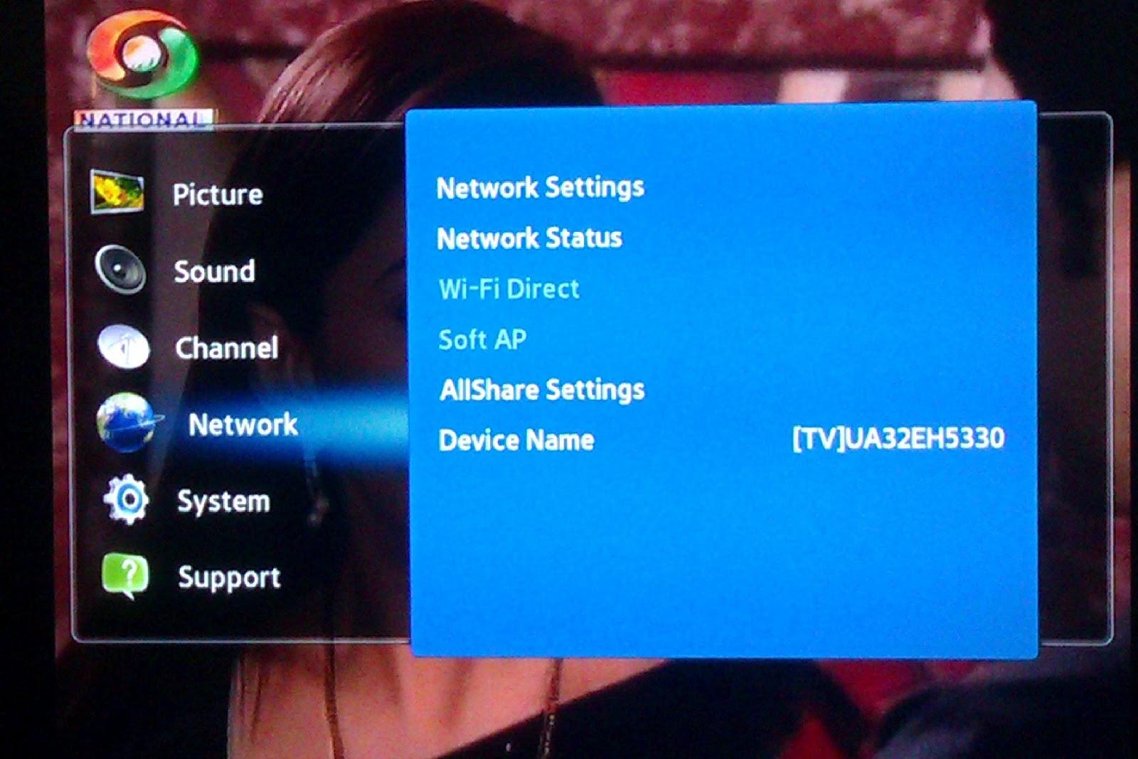 samsung tv manual network setup