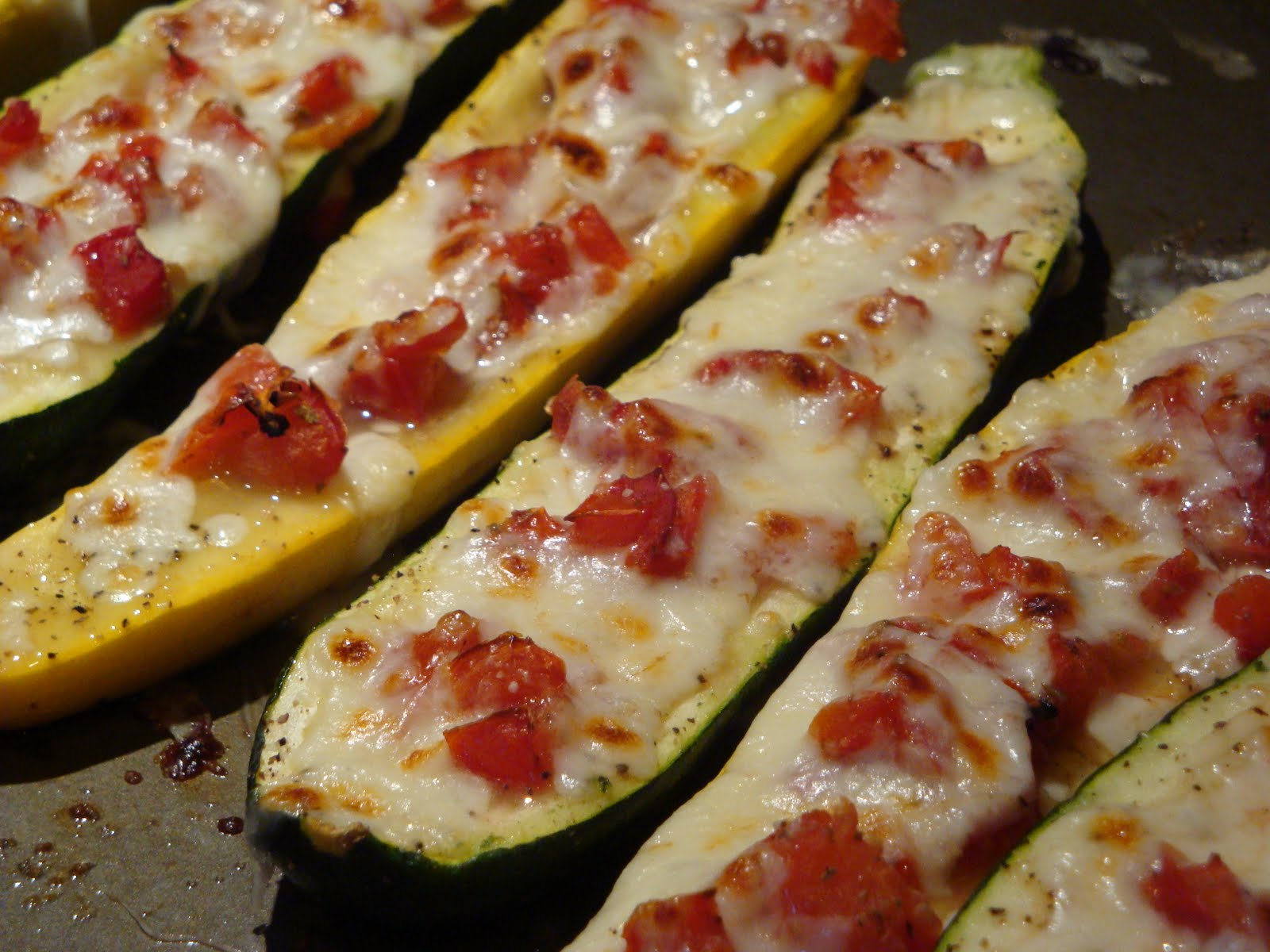 pass the peas, please: stuffed zucchini with tomatoes and mozzarella