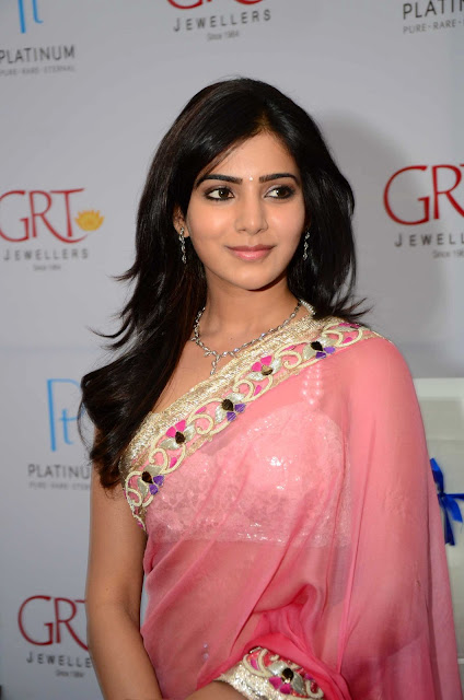 Actress Samantha Pink Saree Photos at grt jewellery opening