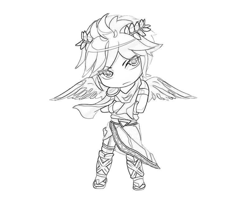 Printable Kid Icarus Dark Pit Weapon Coloring Pages