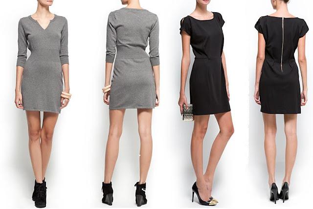 vestidos casuales de punto y negro con abertura hombros