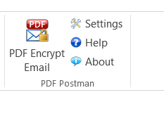 Screenshot of PDF Encrypt Email button in Outlook toolbar.