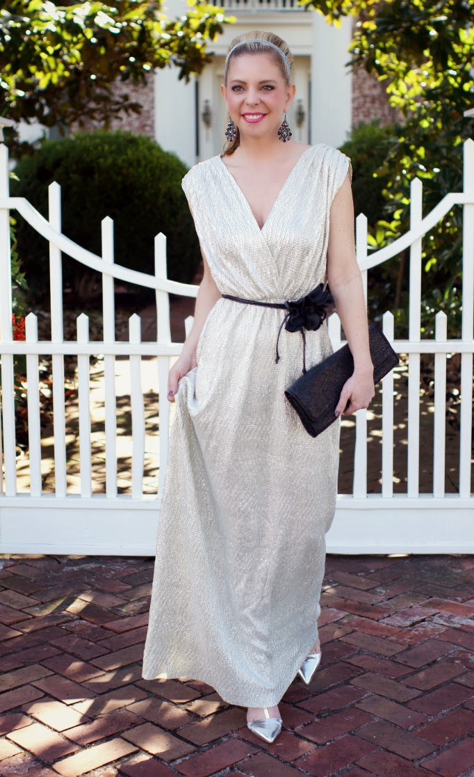 Silver Metallic Formal Maxi Dress
