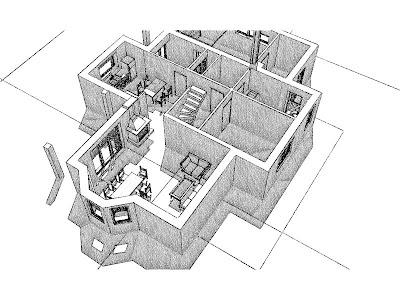 Architekt Rzeszów. Dom jednorodzinny, wizualizacja parteru, salon, gabinet, kuchnia.