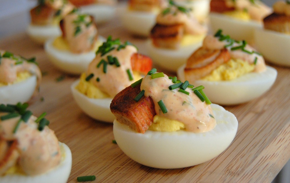 SteakNPotatoesKindaGurl: Crab and Chipotle Aioli Deviled Eggs