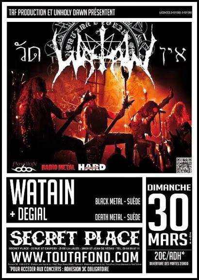 Watain + Degial @ Secret Place, Saint-Jean-de-Védas, Montpellier 30/03/2014